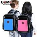 UNME brand 2016 new leather Orthopedic backpack bag for boy girl students PU waterproof backpack children kids school bag