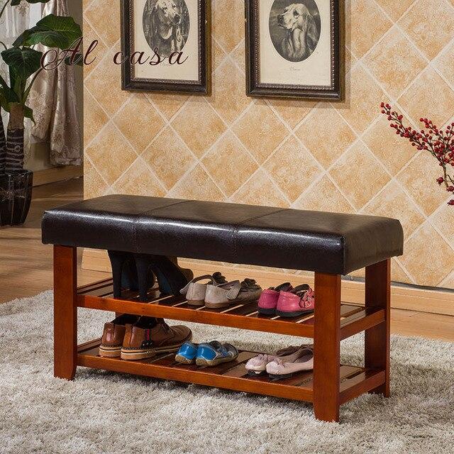 Al Casa High End Wood Shoe Storage Bench Pu Cushion Shoe Storage