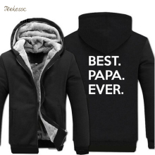 цены Best Papa Ever Hoodies Sweatshirt Men Funny Hoodie 2018 Winter Warm Fleece Zip Up New Fashion Thick Men's Letter Print Sportwear
