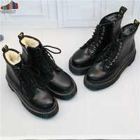 NAUSK/женские ботильоны на плоской платформе; весенние ботинки; черные туфли на толстой подошве со шнуровкой; модные вечерние туфли