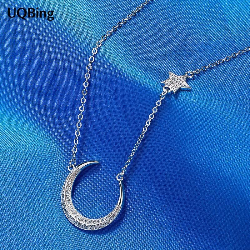 2016 New Drop Shipping 925 Sterling Silver Necklaces Rhinestone Star Moon Pendants&Necklaces Jewelry Collar Colar de Plata