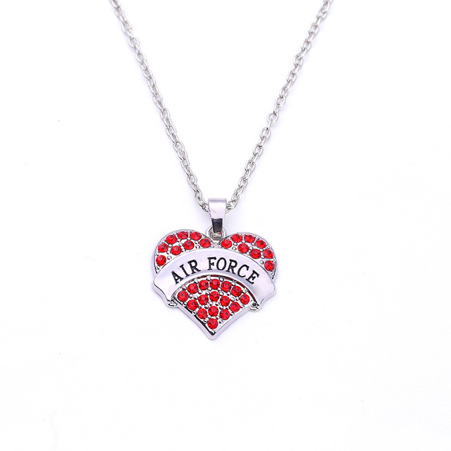 Best selling rhodium plated zinc studded with sparkling crystals air best selling rhodium plated zinc studded with sparkling crystals air force heart pendant chain necklace aloadofball Choice Image