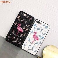 Hocayu新しいスタイル高品質puフラミンゴピンク刺繍電話バックカバー住宅用iphone 6プラスシンプルなケース用女の