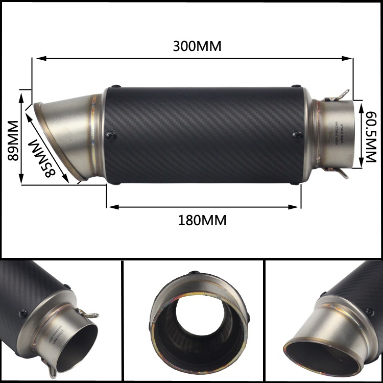 Universal 51/60mm Inlet TITANIUM Motorcycle Exhaust pipe GY6 Modified motorcycle Exhaust Muffler for HONDA R6 R1 FZ6 Z1000 GSXR