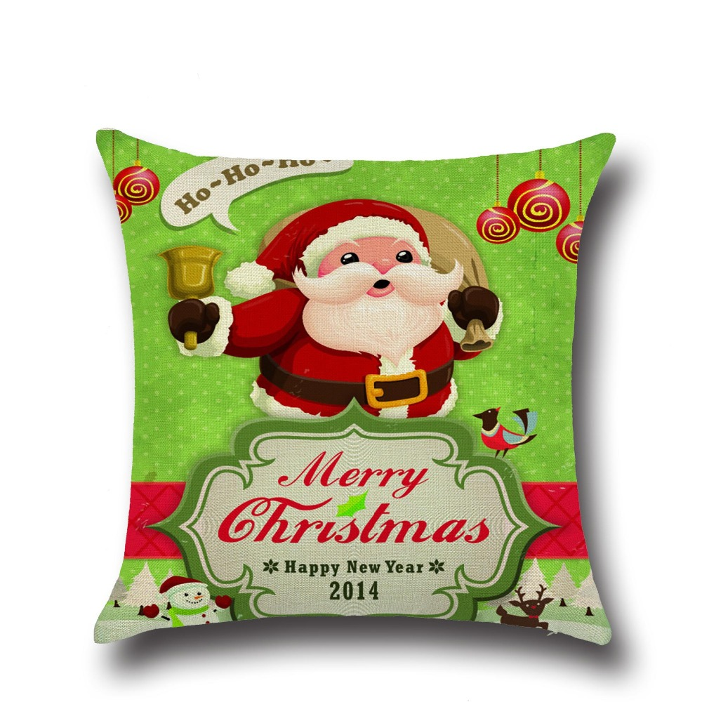 Marry Christmas Santa Claus Elk Cotton Linen Home Decor Sofa Office Pillow Cover Personality Car Pillowcase Cover For Gifts