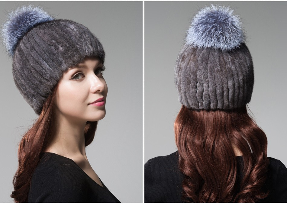 mink fur winter hats for women PCM010 (19)