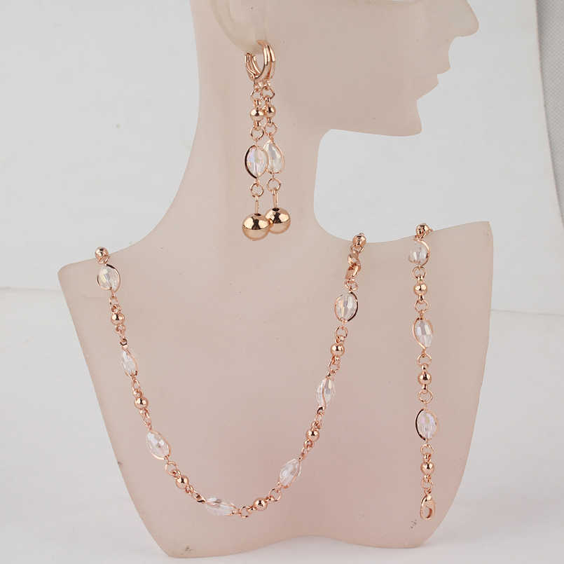 Fashion Crystal African Beads Jewelry Sets Gold Color Wedding Bridal Jewelry Sets Women Necklace Earrings Bracelets Jewellery