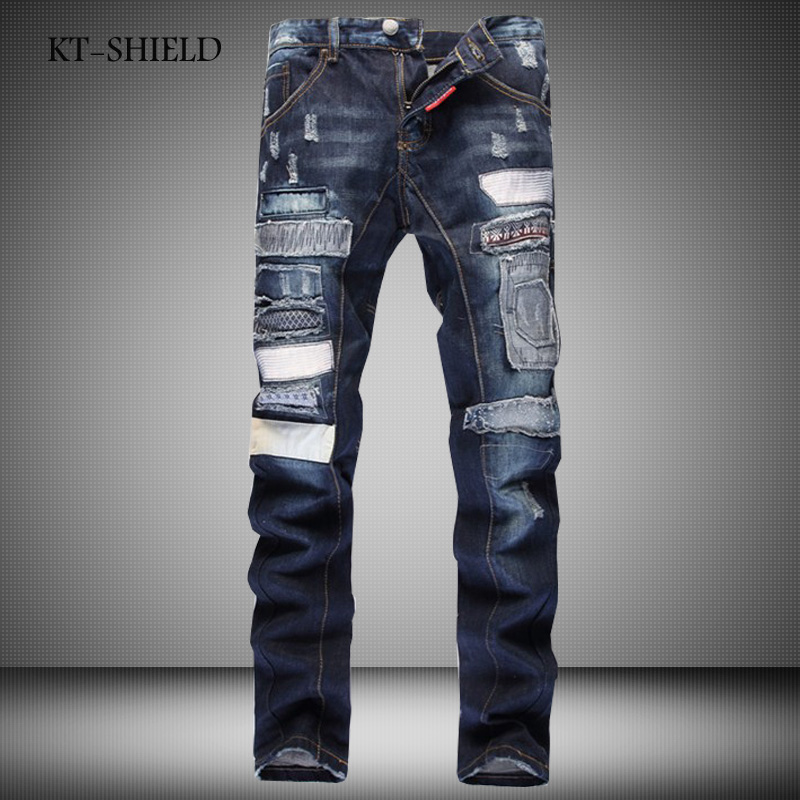 ФОТО fashion design brand men biker Ripped Denim jeans pants Cotton casual full length Trousers Slim Distressed Masculina Pantalones