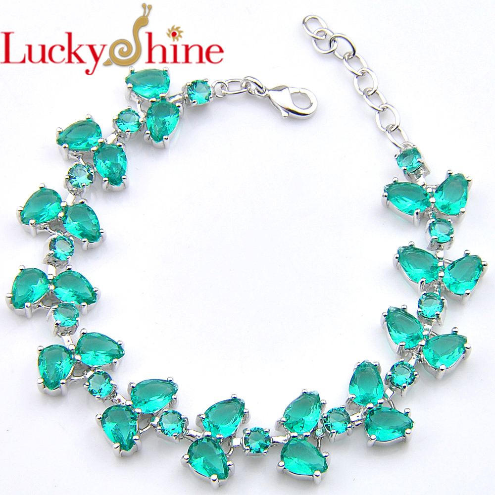 New Arrival Water Drop Green Quartz Crystal Zircon Silver Olive Branch Chain Bracelets for Russia USA Ukraine Wedding Party Gift