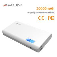 ARUN Original 20000mAh Power Bank LCD External Battery Portable Mobile Fast Charger Dual USB Charger External