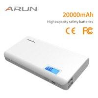 ARUN Original 20000mAh Power Bank LCD External Battery Portable Mobile Fast Charger Dual USB Charger External