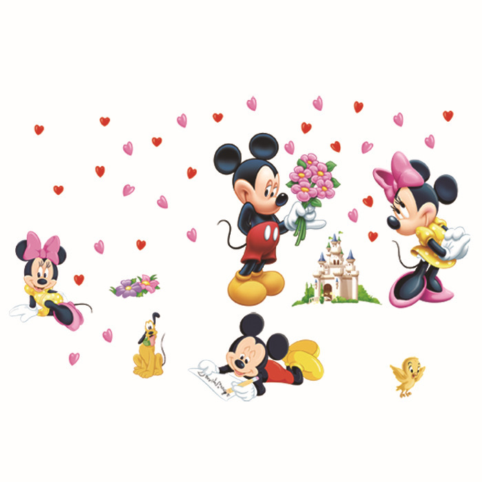 Mickey Mouse and Minnie Mouse sticker wall mural decoration children child diy removable vinyl wallpaper XY8126
