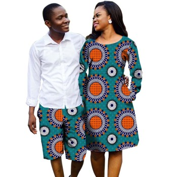 Fashion Couples Dress Africa Clothes Printed Dresses And Men Shorts Party African Women Clothes Ladies Costume Customized Платье
