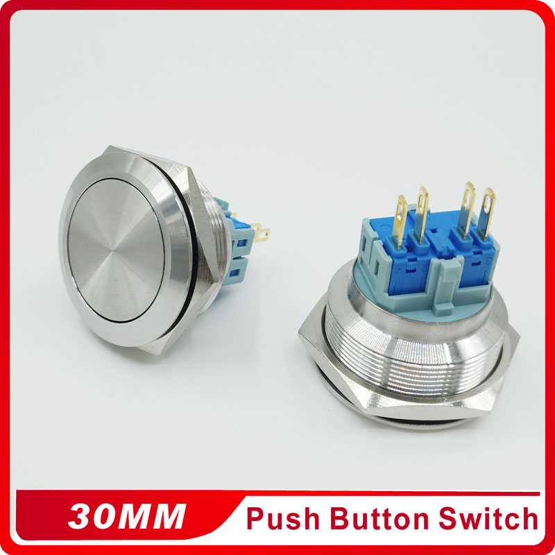 30mm Momentary Reset 4pins Stainless Steel Metal Doorbell Push Button Switch Car Auto Engine PC Power Start Starter