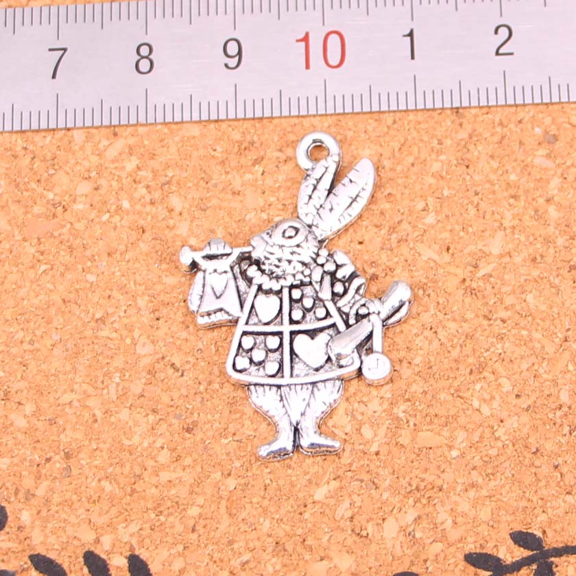 Brave 27pcs Antique Silver Plated Musical Rabbit Trumpet Charms Diy Handmade Jewelry Findings Accessories 36*23mm Choice Materials
