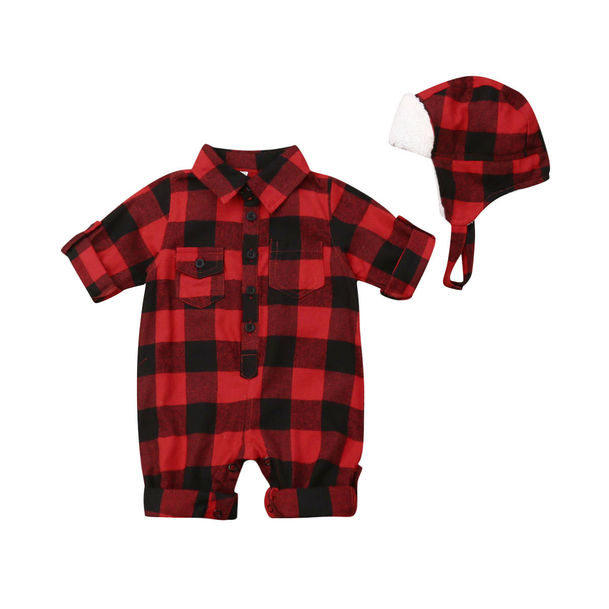 2019 Christmas Newborn Baby Boy Girl Long Sleeve Plaid Romper Jumpsuit Warm Hat 2PCS Xmas Clothes