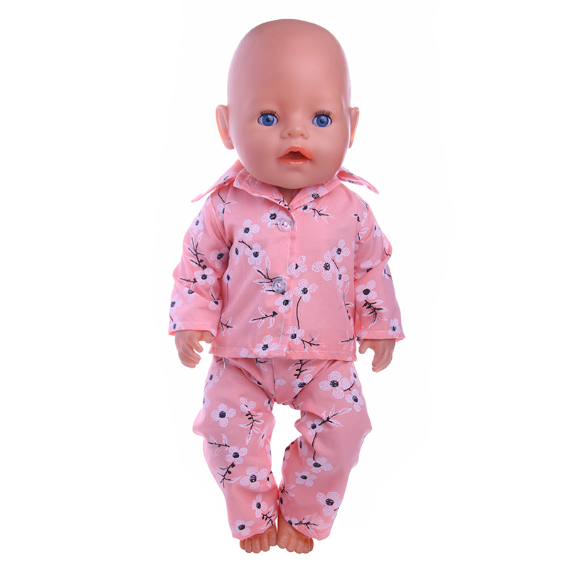 Handmade Baby Born Zapf Plum blossom pattern pajama Doll Clothes Fit 43cm Baby Born Baby best Gift Doll Accessories n174 superman and spider man cosplay costume doll clothes fit 43cm baby born zapf doll accessories handmade child birthday gift t 5