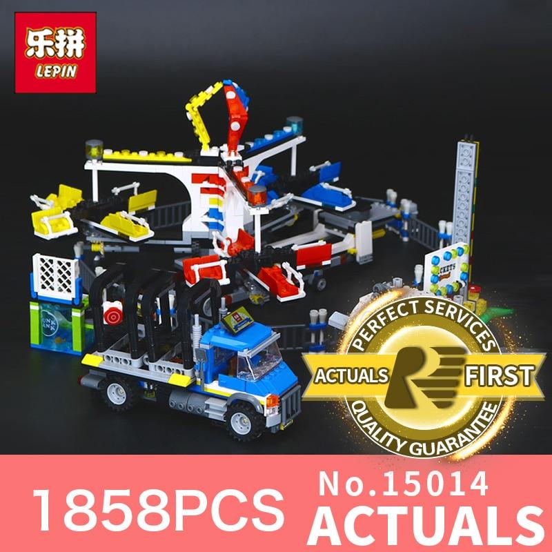 1858Pcs Lepin 15014  Genuine Street Series The Amusement Park Giant Stride Carnival Set Building Blocks Bricks Toy model 10244 the unhappy giant level 3