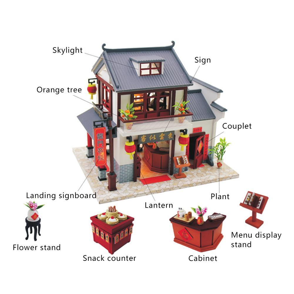 Juguete Hut Inn Regalo Longmen Casa Puzle Innovador A Mano Diy Modelo De Hecho Madera Ensamblado y8mnwN0vO
