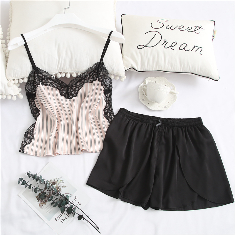 Summer New Patchwork Fashion Woman   Pajama     Set   Lace Spaghetti Strap Short Twinset Sleepwear Ice Silk Soft Pyjama