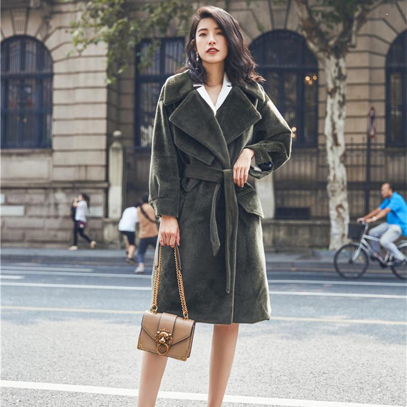 Hiver Long Costume vert Col Hzirip Trench Femmes Mode Gris Velours Streetwear Automne Manteaux 2017 Manteau Laine Femme De Solide Ol Pardessus wOqxZ6w1vR