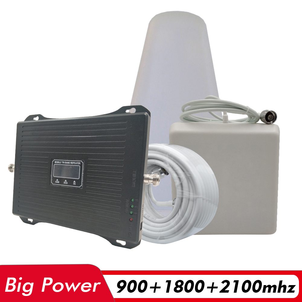 Powerful 2G 3G 4G Tri Band Signal Booster GSM 900+DCS/LTE 1800+UMTS/WCDMA 2100 MHz Cell Phone Signal Repeater Amplifier Full Set