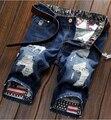 Homens verão calças de Brim Curtas dos homens Calções de Moda Homens Verão Roupas Curtas dos homens Denim Do Punk Mens Jeans Rasgado Holey calções