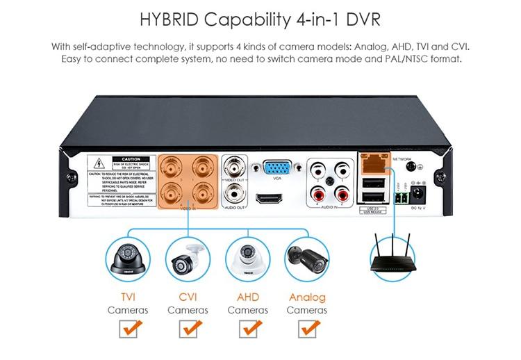 ZOSI 4CH/8CH DVR CCTV System with 2CH 2PCS 1.0 MP IR Outdoor Security Cameras 720P HDMI CCTV DVR 1280TVL Video Surveillance Kit