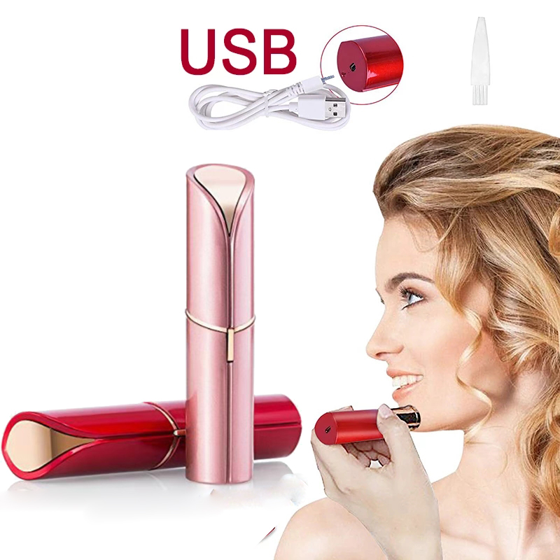 Mini Electric Epilator For Women Painless Hair Removal Upper Lip Cheeks Lipstick Shaver Face Hair Remover USB Rechargeable