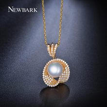 NEWBARK Cute Shell Imitation Pearl Pendant Necklaces Chain Gold And Silver Color CZ Diamond Women Jewlery Christmas Gifts