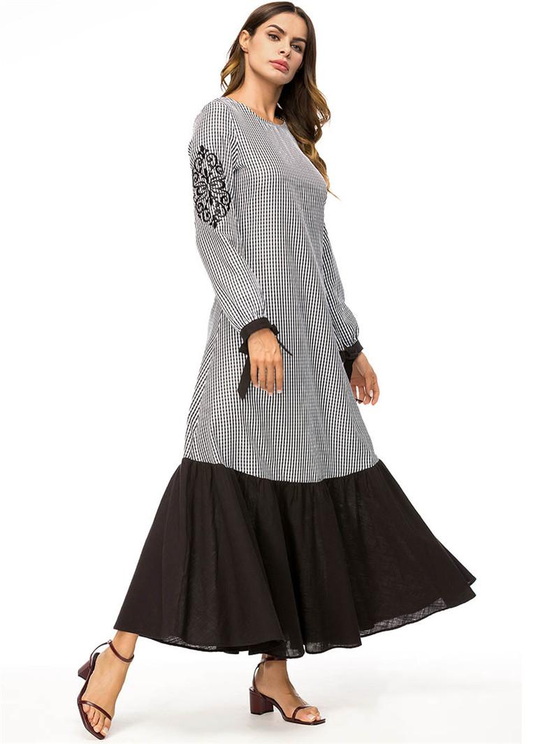 c5b4fed2771 Acheter Abaya Robes Musulman Maxi Modeste Robe À Carreaux Turquie ...