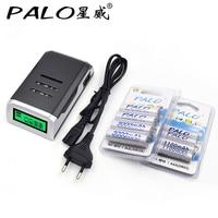 4 Slots LCD Smart Charger For AA AAA Batteries 4 Pcs Aa 3000mah 4 Pcs AAA1100mah