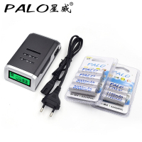 4 Slots LCD Smart Charger For AA AAA Batteries 4 Pcs Aa 3000mah 4 Pcs AAA1100mah