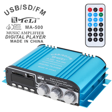 лучшая цена 4CH Car Audio Power Stereo Amplifier FM Radio Player Support SD USB DVD MP3 with Remote Controller for Car Motorcycle Home Audio