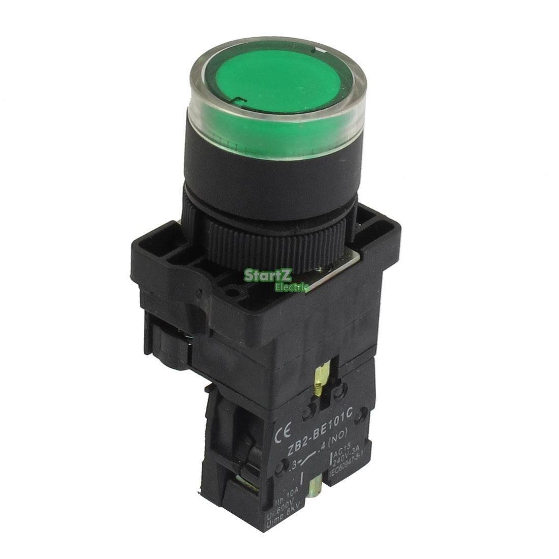 все цены на  5Pcs 22mm NO Green Illuminated Light Momentary Push Button Switch AC 220V ZB2-EW3361  онлайн