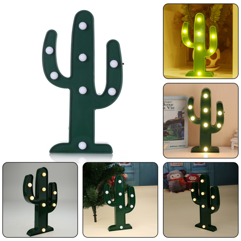 3D Catus Night Light LED Lamp Chirstmas Light Home Decoration Indoor Table Luminaire Chr ...