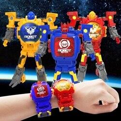 Relógio relógio de Pulso Crianças Brinquedo Eletrônico Robô deformação Robô Ação Trasformation Dons Criativos Brinquedos Educativos brinquedo Relógio