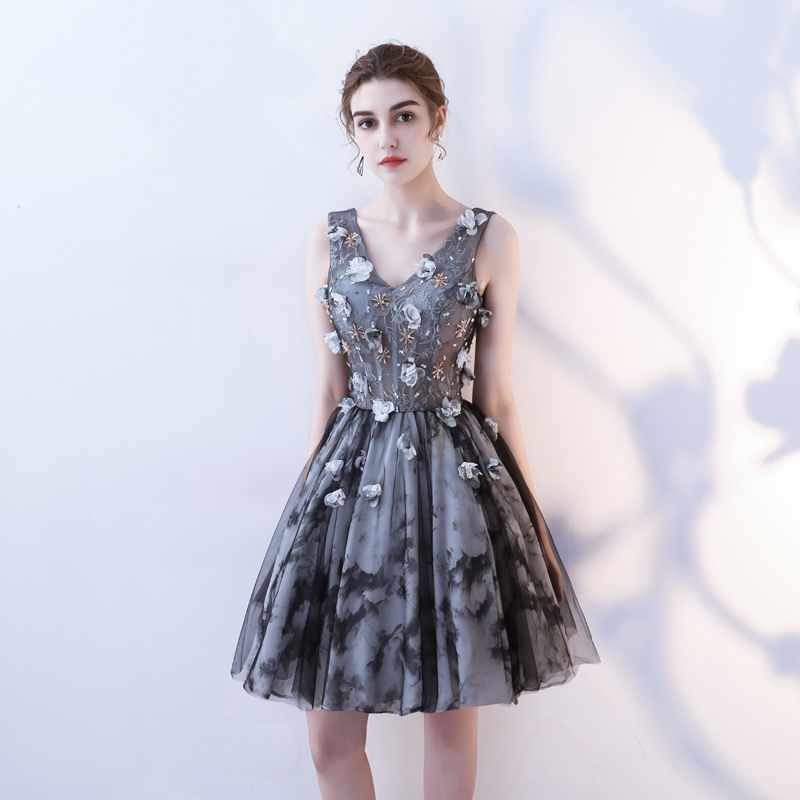 Luxury Lace Short Homecoming Dress Beads Flower Applique Formal  Party Graduation Dresses V-neck Sexy Women Evening Gowns