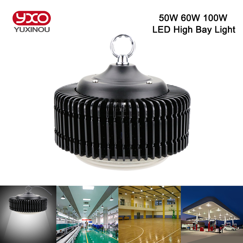 1PCS 220V 50W 60W 100W High Power UFO Dimmable LED High Bay Light IP40 SMD5730 LED Chip High Brightness For Warehouse Lighting