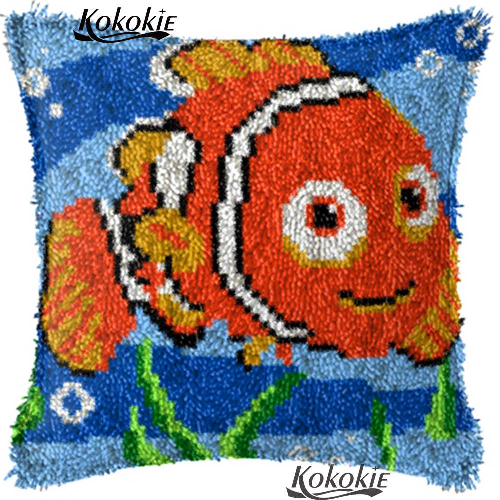 Tappeto FAI DA TE Cucito gancio di chiusura cuscini cuscino del fumetto del ricamo di pesce Fatti A Mano Ricamo kit punto croce Incompiuta