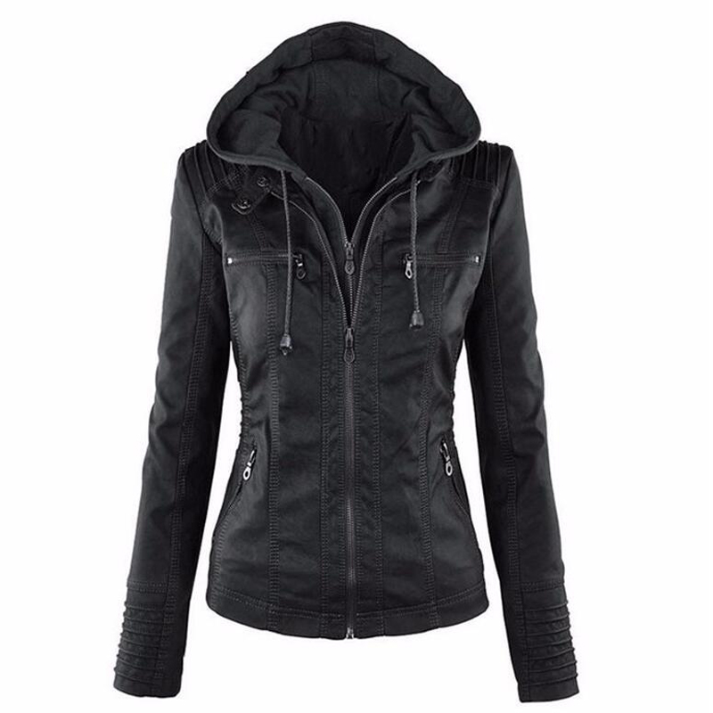 Plus Size 5XL 6XL Faux   Leather   Jacket For Women Hooded Motorcycle Jacket Black Outerwear Long Sleeve Slim PU   Leather   Short Coat