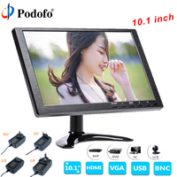 Podofo 10.1 LCD HD Monitor Mini TV & Computer Display Color Screen 2 Channel Video Input Security Monitor With Speaker VGA HDMI