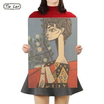 TIE LER Pablo Picasso praca plakat z papieru pakowego Jacqueline i kwiaty ozdobny obraz naklejki ścienne 50.5X35cm