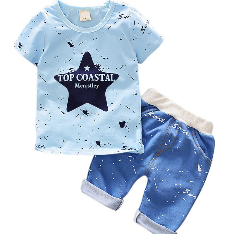 Baby Boys Clothes Summer Toddler Baby Boys Short Sleeve Letter Print T-Shirt Tops+Shorts Casual Outfits Sets Chidlren Clothes