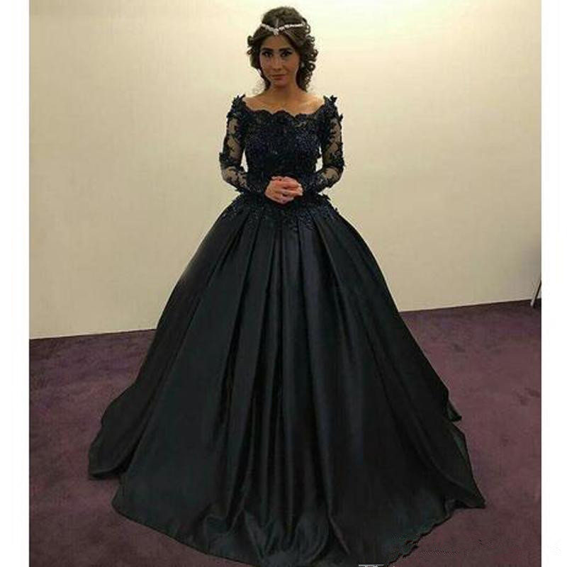 Black Muslim Vintage Ball Gown Wedding Dresses Satin Long Sleeve
