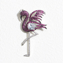 UALGL Fashion Elegant Jewelry Lovely Flamingo Crystal Animal Brooches For Women Wedding Gifts Clothing Decoration Accessories