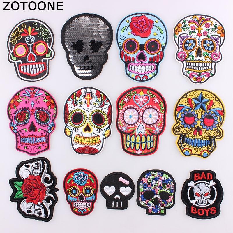 ZOTOONE-parches bordados de calavera Punk Rock para ropa, parches de planchado con esqueleto de rosa para motorista, adhesivos para ropa, apliques C