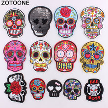 ZOTOONE Punk Rock Skull Embroidery Patches For Clothing Flower Rose Skeleton Iron On Biker Clothes Stickers Applique C