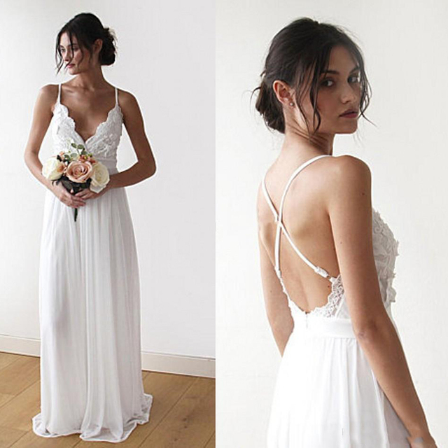 e4fabc66a9 Informal boda Dreess 2018 playa vestido de novia gasa encaje apliques espalda  descubierta barato modesta Venta