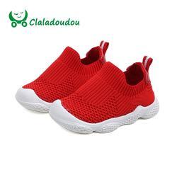 Claladoudou 12-14 см брендовые весенние детские модные туфли Горячий красный черный вязаный дышащий обувь для малышей-мальчиков кроссовки мягкая